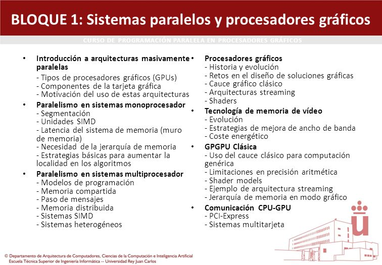 BLOQUE 1: Sistemas paralelos y procesadores gráficos