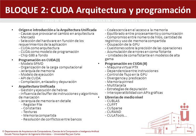 BLOQUE 2: CUDA Arquitectura y programación