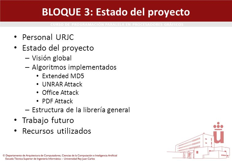 BLOQUE 3: Estado del proyecto