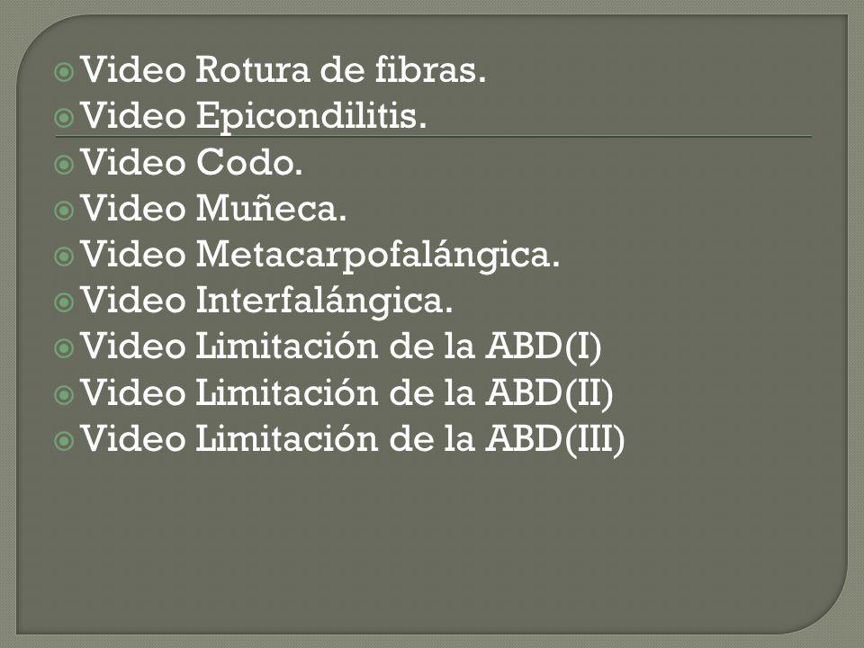 Video Rotura de fibras. Video Epicondilitis. Video Codo. Video Muñeca. Video Metacarpofalángica.