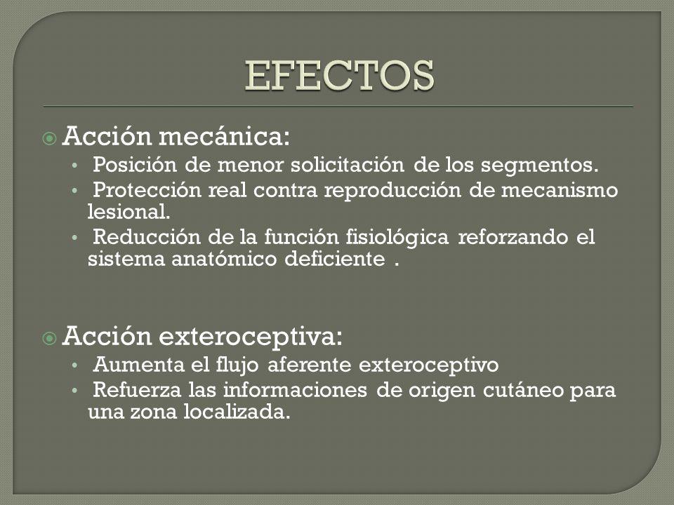 EFECTOS Acción mecánica: Acción exteroceptiva:
