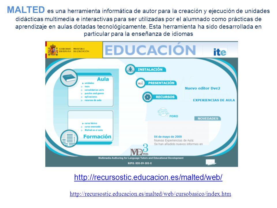 MALTED es una herramienta informática de autor para la creación y ejecución de unidades didácticas multimedia e interactivas para ser utilizadas por el alumnado como prácticas de aprendizaje en aulas dotadas tecnológicamente. Esta herramienta ha sido desarrollada en particular para la enseñanza de idiomas