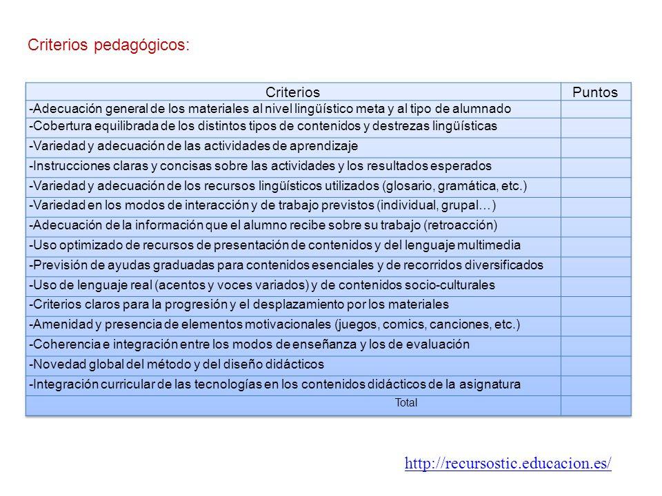 Criterios pedagógicos: