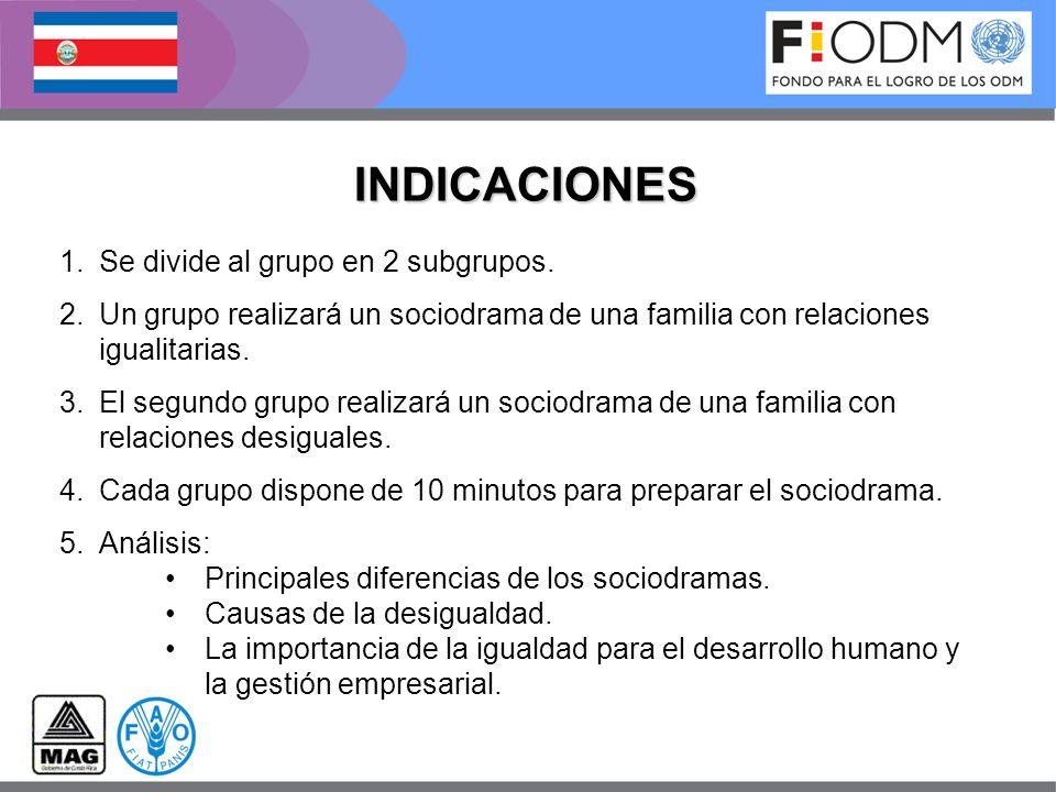 INDICACIONES Se divide al grupo en 2 subgrupos.