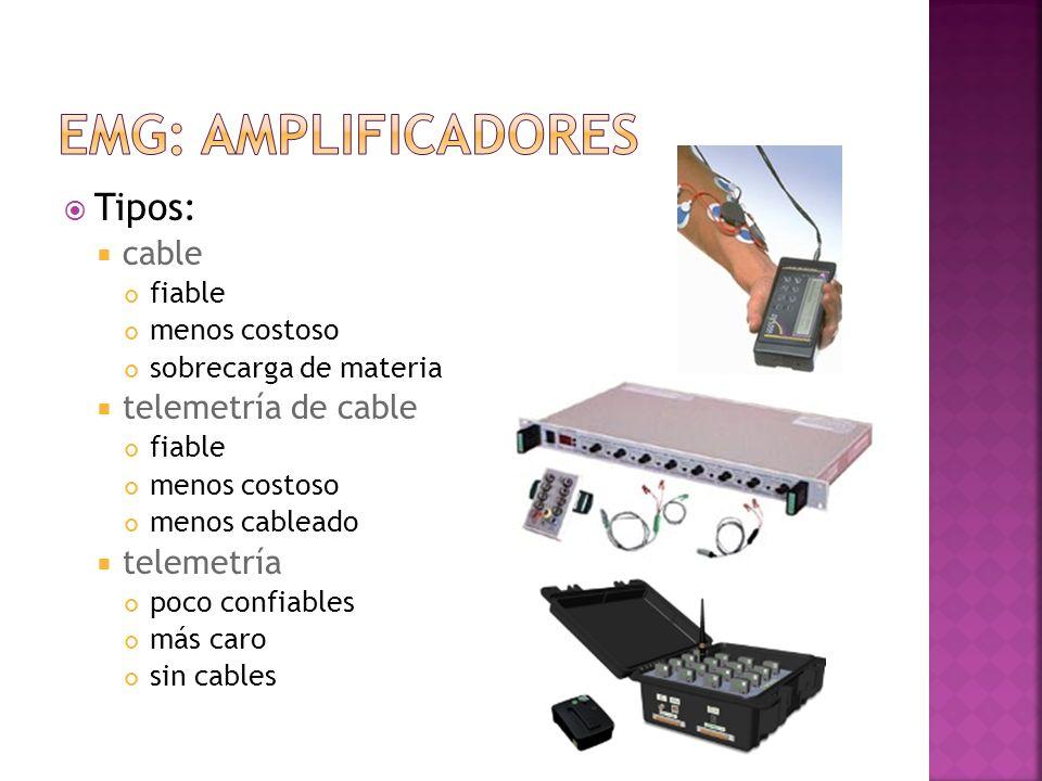 EMG: amplificadores Tipos: cable telemetría de cable telemetría fiable
