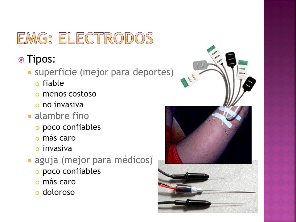 EMG: electrodos Tipos: superficie (mejor para deportes) alambre fino