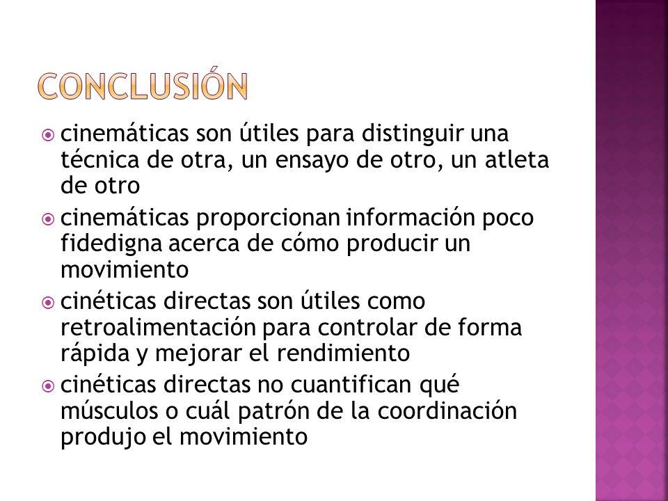 conclusión cinemáticas son útiles para distinguir una técnica de otra, un ensayo de otro, un atleta de otro.