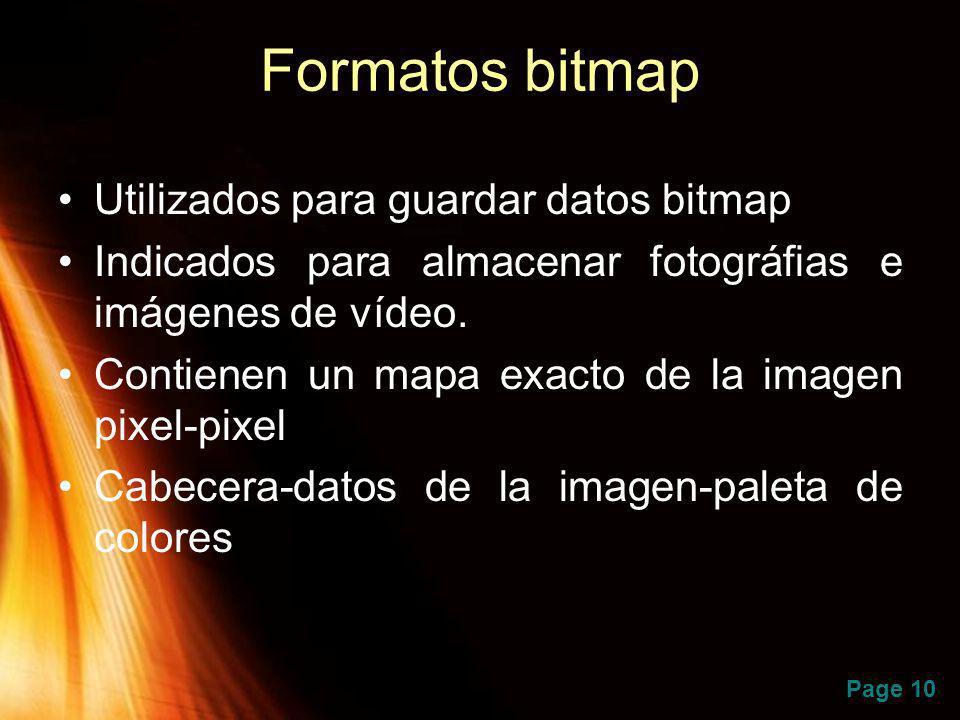 Formatos bitmap Utilizados para guardar datos bitmap