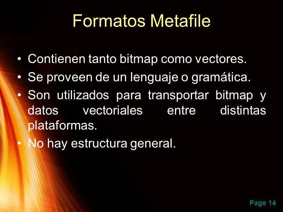 Formatos Metafile Contienen tanto bitmap como vectores.