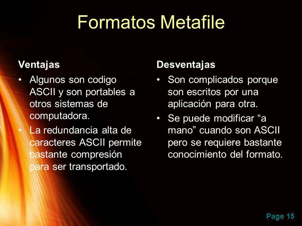Formatos Metafile Ventajas Desventajas