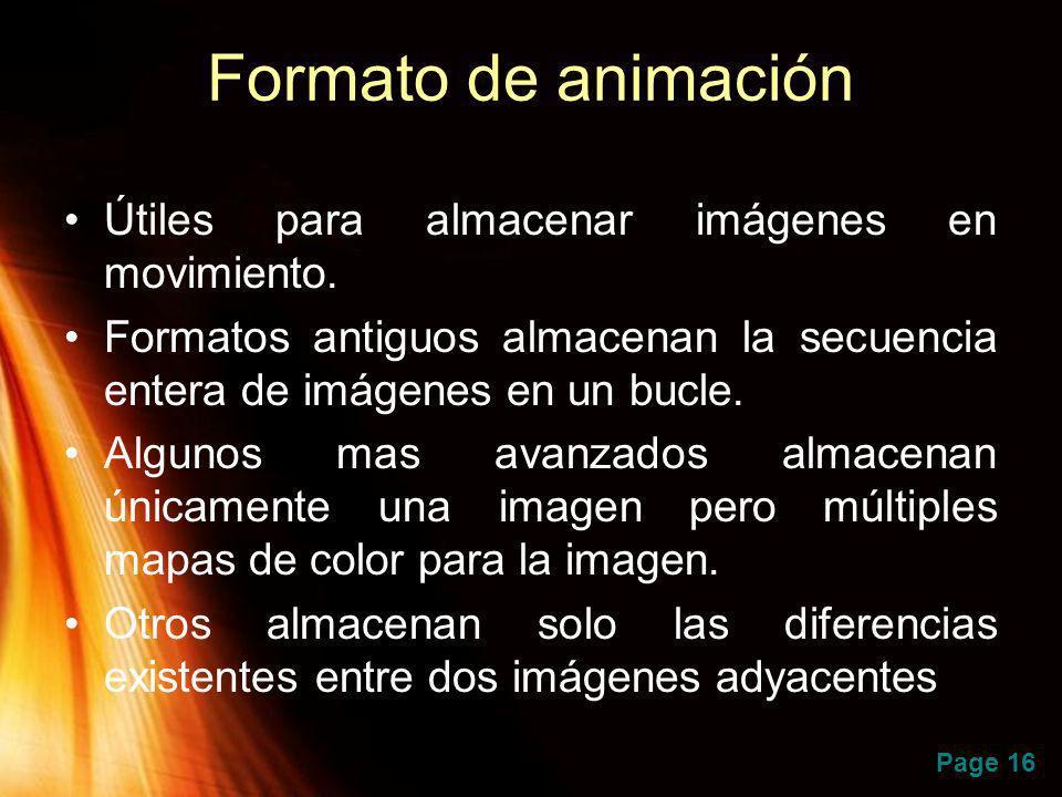 Formato de animación Útiles para almacenar imágenes en movimiento.