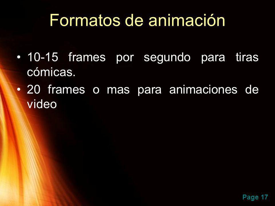 Formatos de animación 10-15 frames por segundo para tiras cómicas.