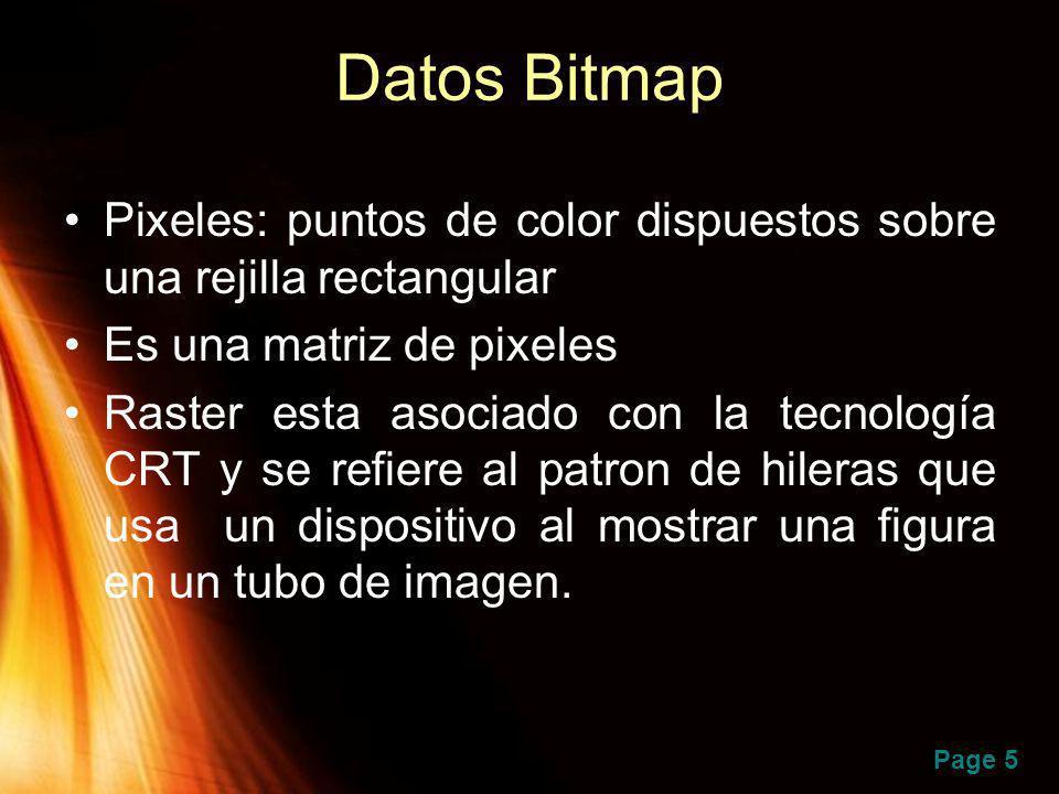 Datos Bitmap Pixeles: puntos de color dispuestos sobre una rejilla rectangular. Es una matriz de pixeles.