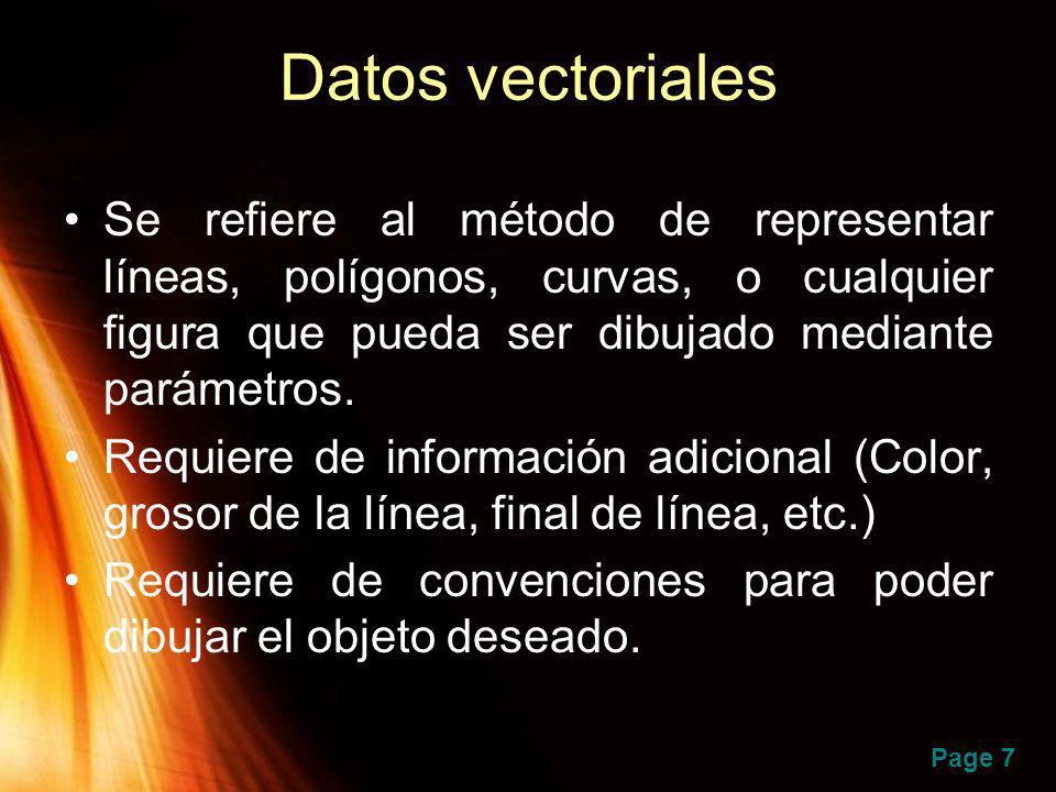 Datos vectoriales Se refiere al método de representar líneas, polígonos, curvas, o cualquier figura que pueda ser dibujado mediante parámetros.