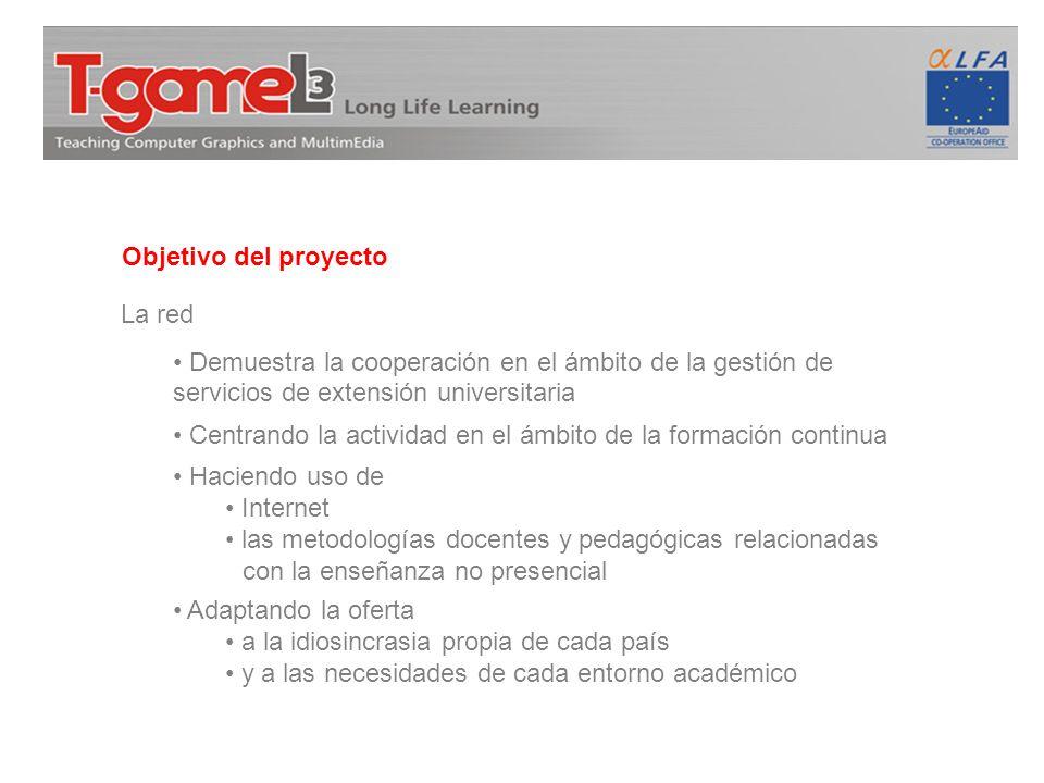 Objetivo del proyecto La red. Demuestra la cooperación en el ámbito de la gestión de servicios de extensión universitaria.