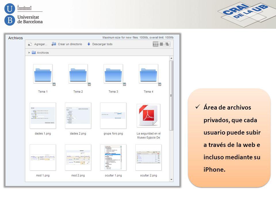 Área de archivos privados, que cada usuario puede subir a través de la web e incluso mediante su iPhone.