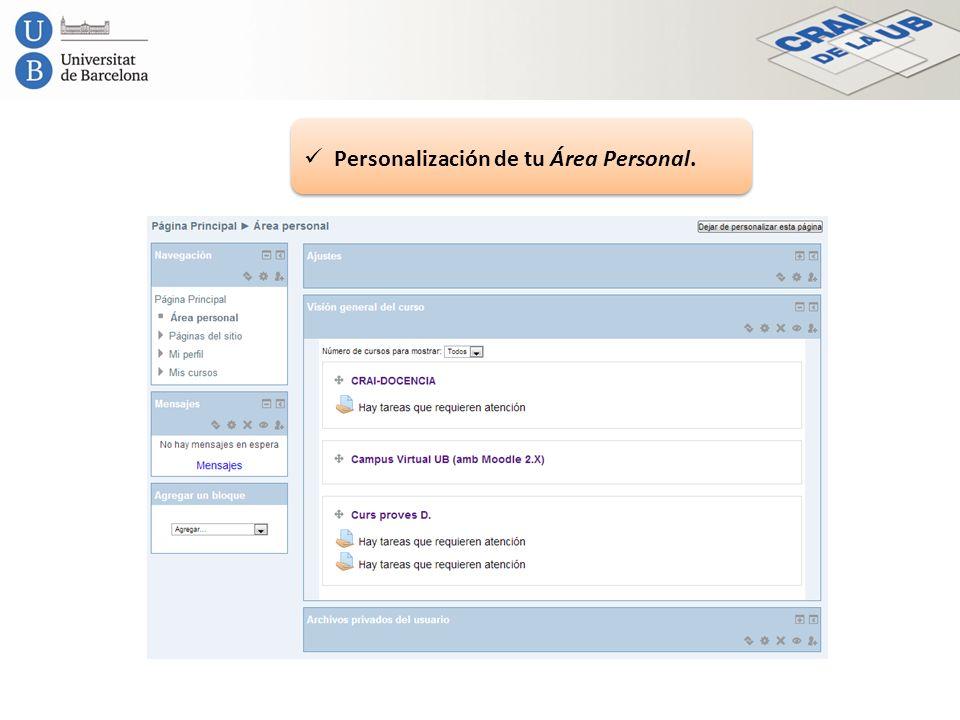 Personalización de tu Área Personal.