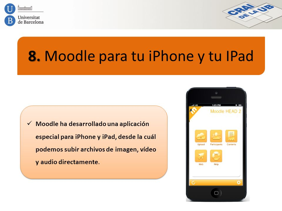 8. Moodle para tu iPhone y tu IPad
