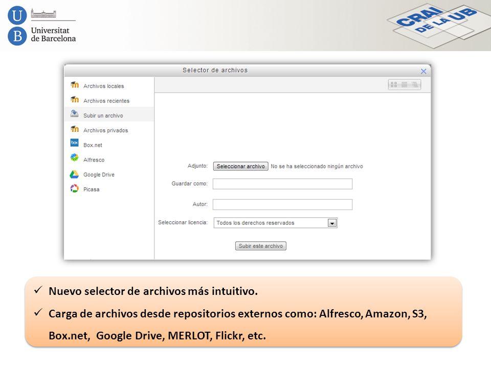 Nuevo selector de archivos más intuitivo.