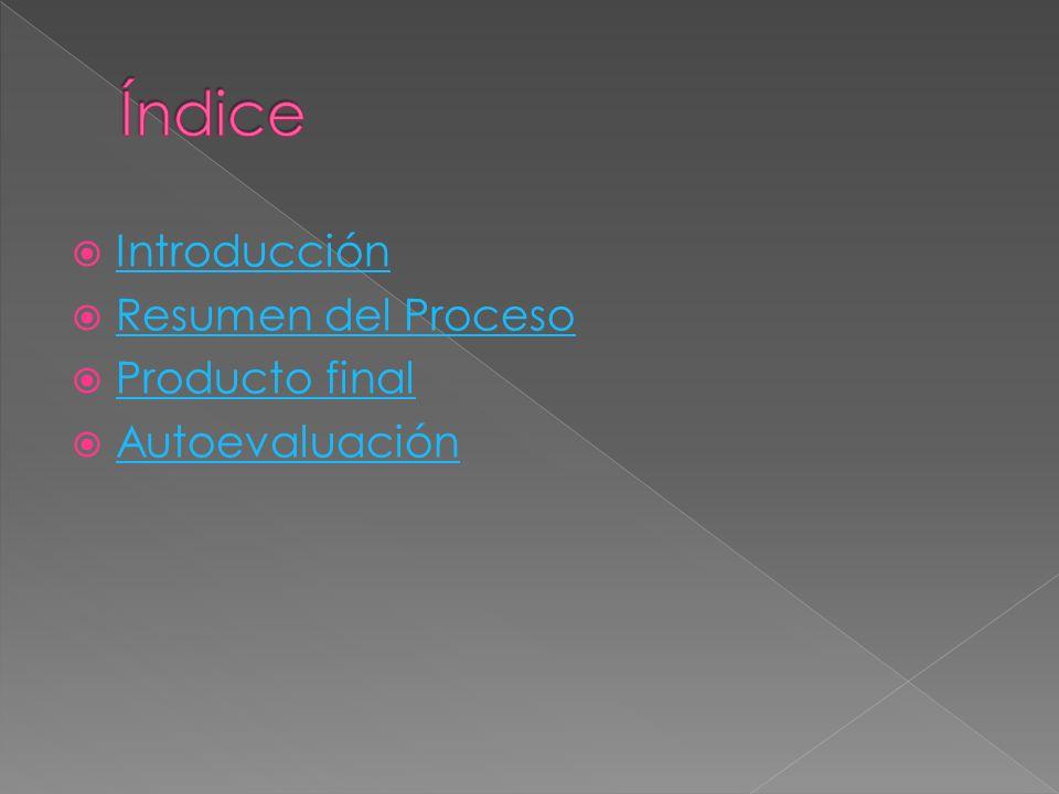Índice Introducción Resumen del Proceso Producto final Autoevaluación