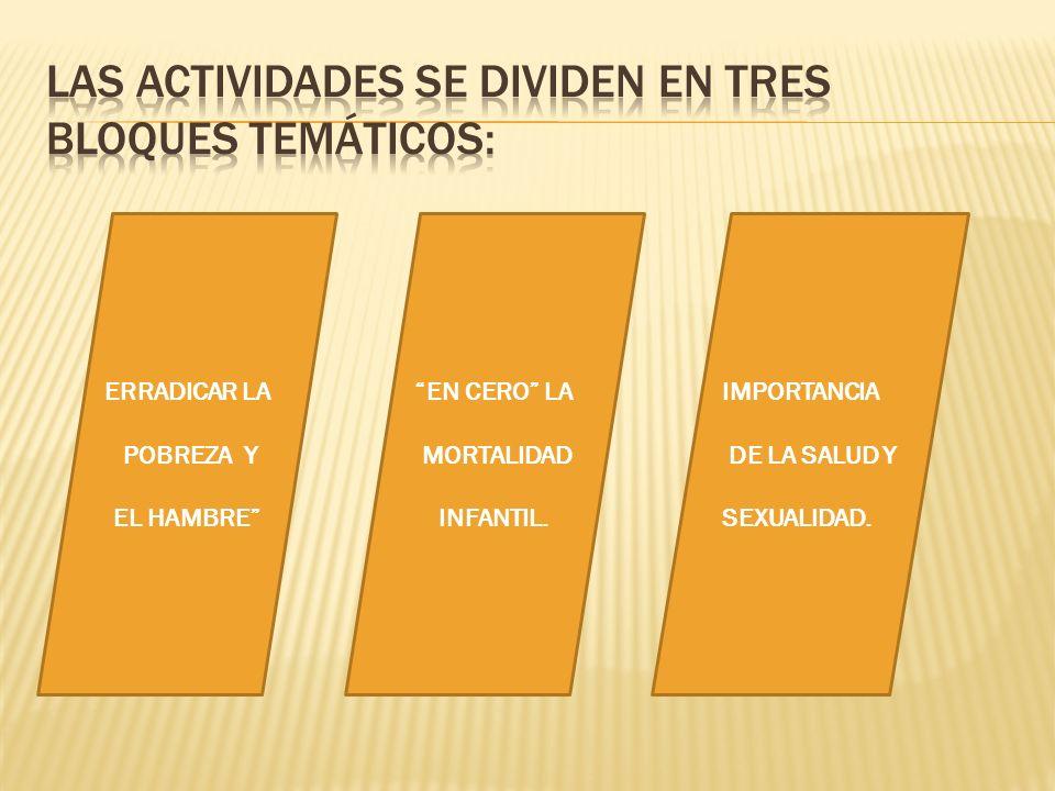 Las actividades se dividen en tres bloques temáticos: