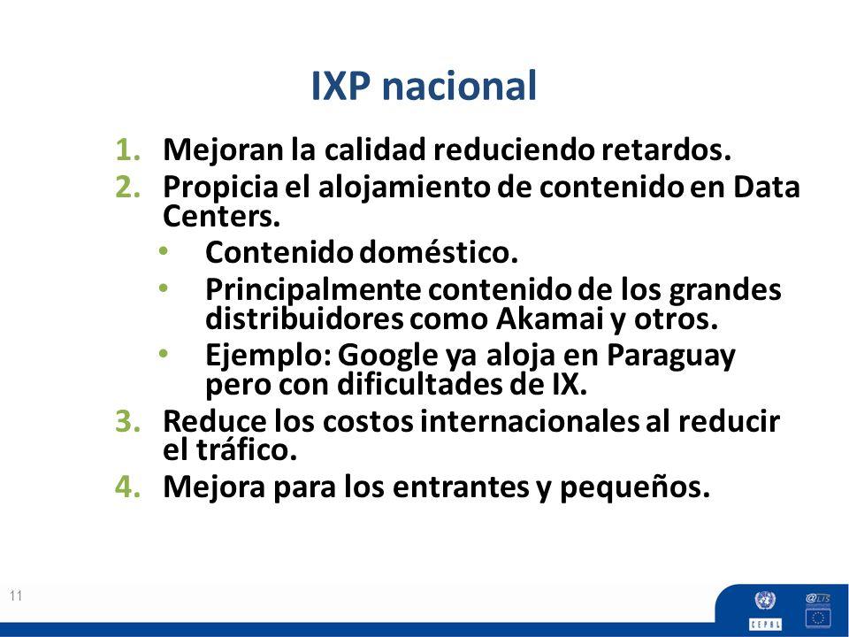 IXP nacional Mejoran la calidad reduciendo retardos.