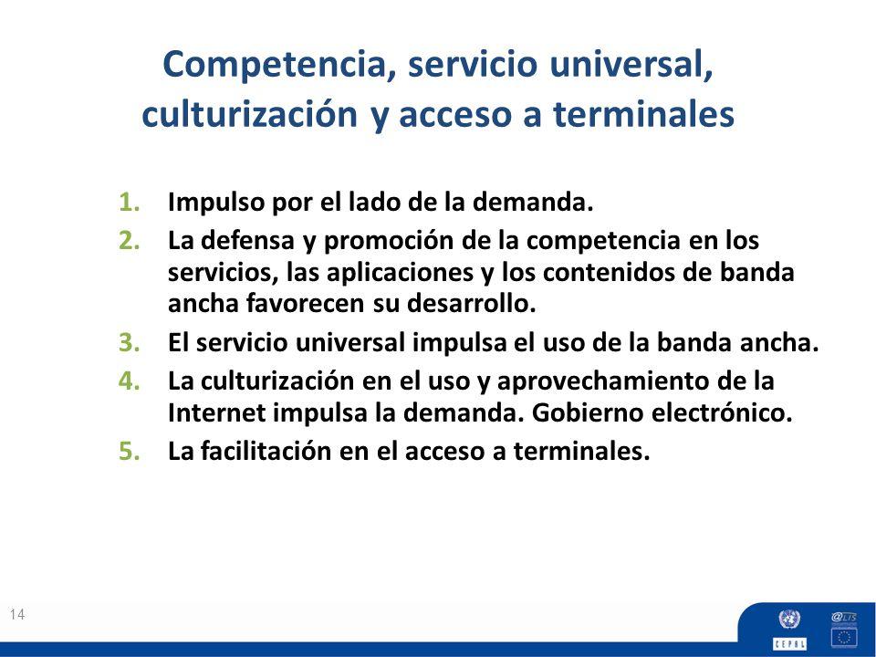 Competencia, servicio universal, culturización y acceso a terminales