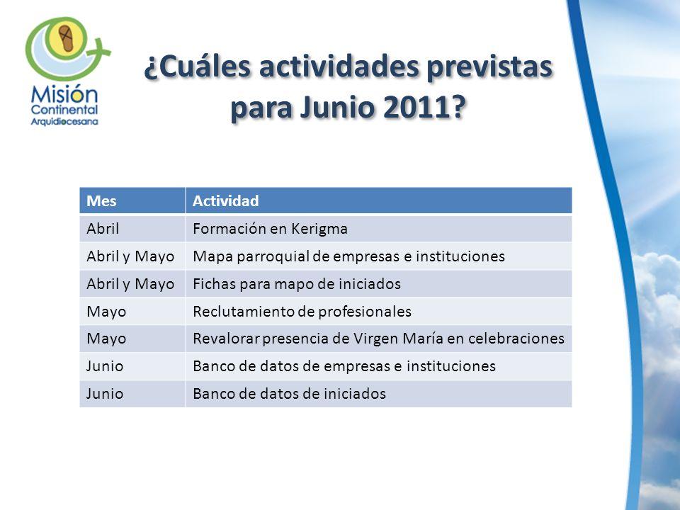 ¿Cuáles actividades previstas para Junio 2011