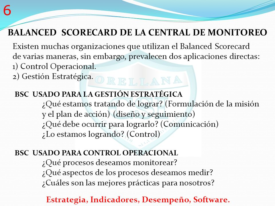 BALANCED SCORECARD DE LA CENTRAL DE MONITOREO