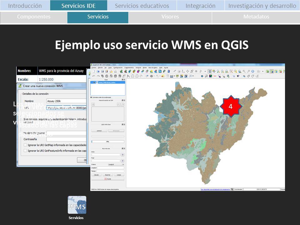 Ejemplo uso servicio WMS en QGIS