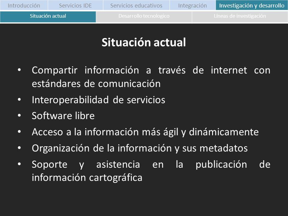 Introducción Servicios IDE. Servicios educativos. Integración. Investigación y desarrollo. Situación actual.