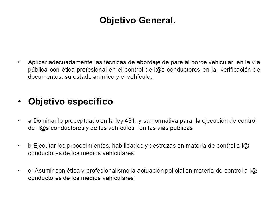 Objetivo General. Objetivo especifico