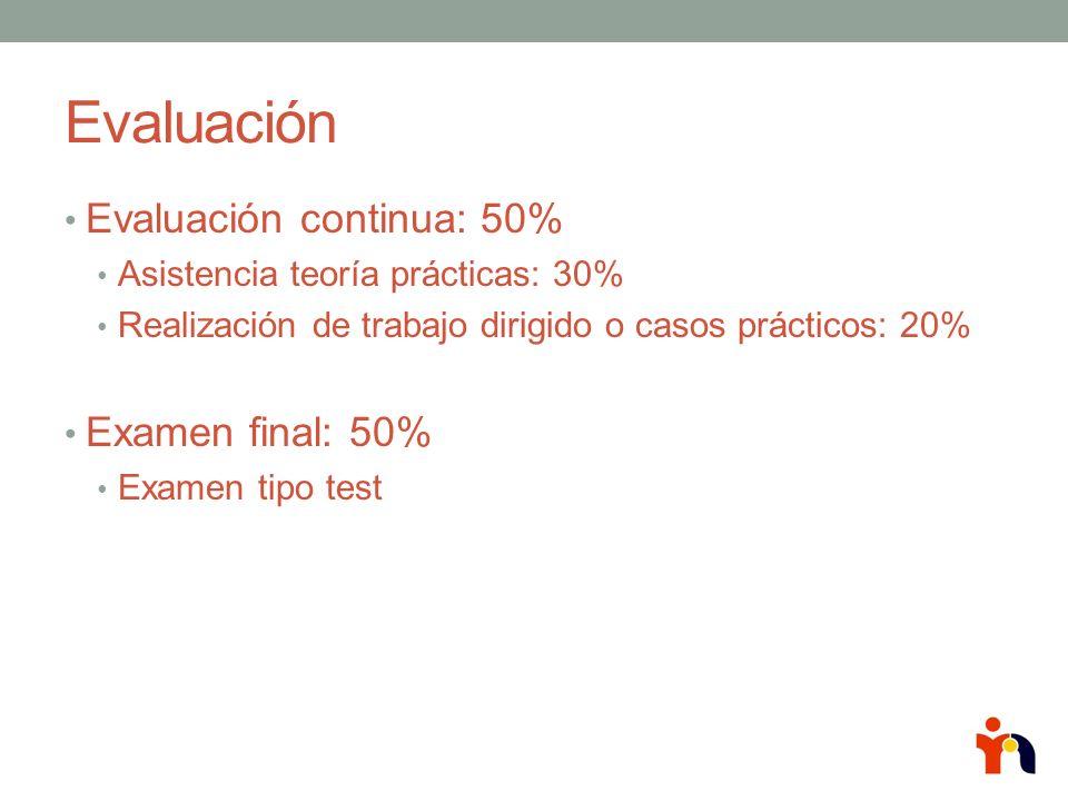 Evaluación Evaluación continua: 50% Examen final: 50%