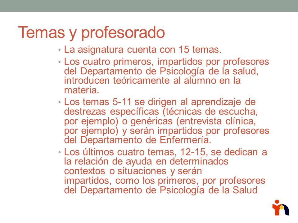 Temas y profesorado La asignatura cuenta con 15 temas.