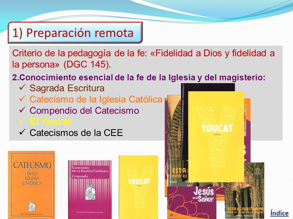 1) Preparación remota Criterio de la pedagogía de la fe: «Fidelidad a Dios y fidelidad a. la persona» (DGC 145).