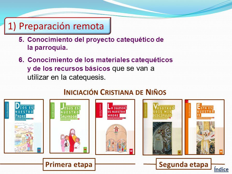 1) Preparación remota Iniciación Cristiana de Niños Primera etapa