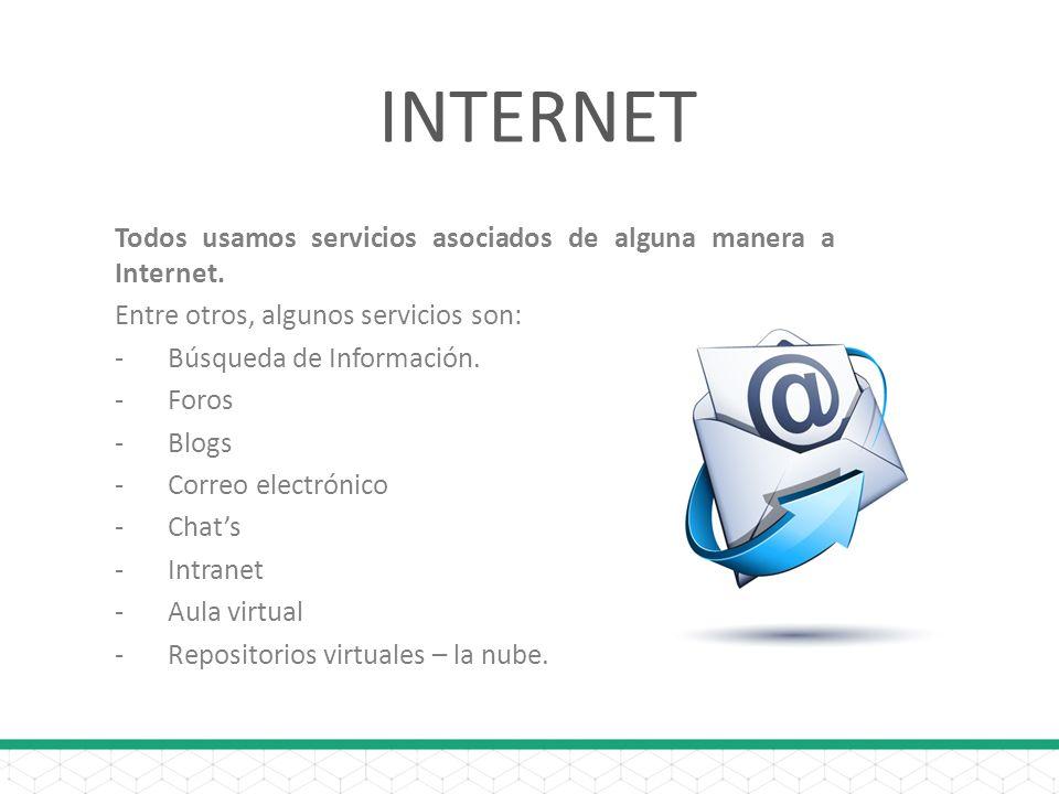 INTERNET Todos usamos servicios asociados de alguna manera a Internet.