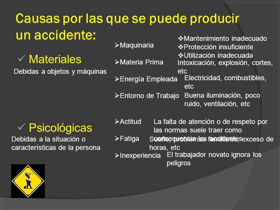 Causas por las que se puede producir un accidente: