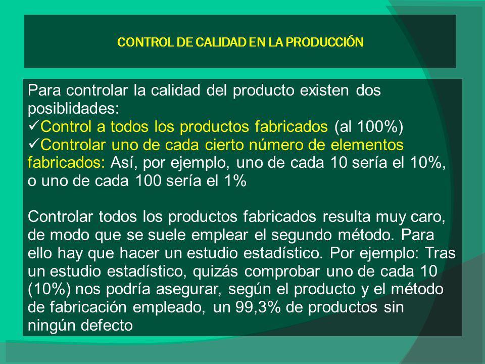 CONTROL DE CALIDAD EN LA PRODUCCIÓN