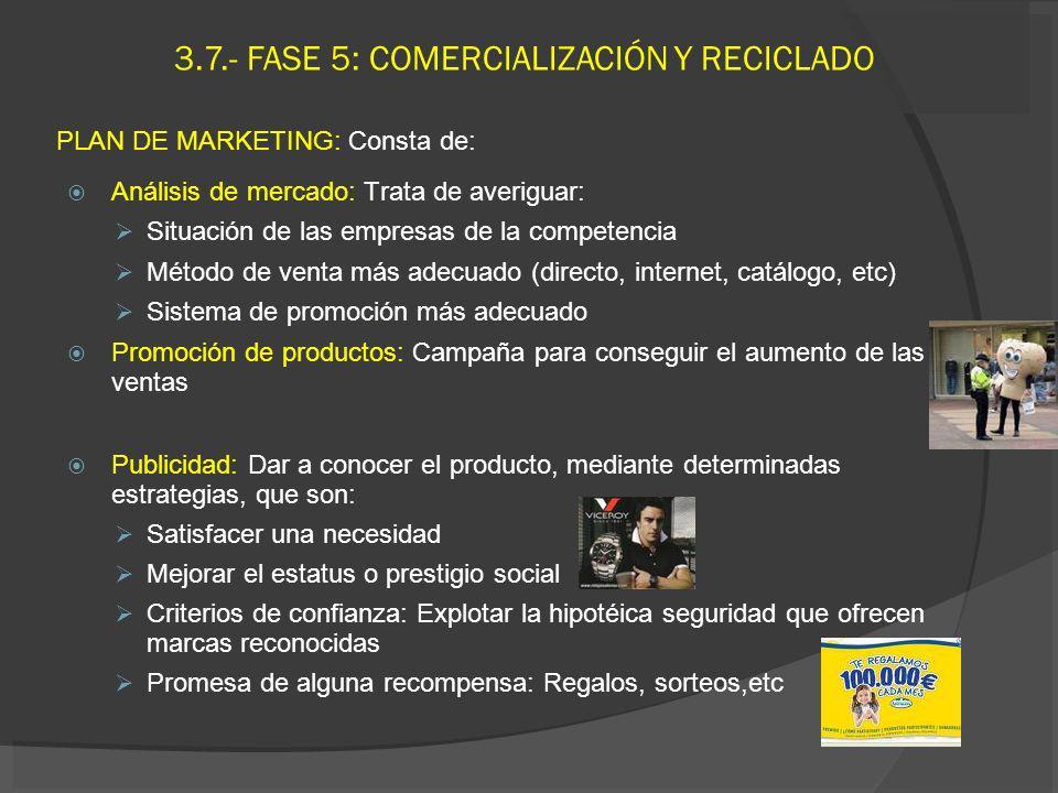 3.7.- FASE 5: COMERCIALIZACIÓN Y RECICLADO