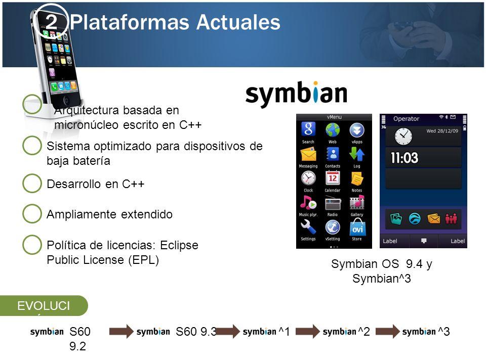 2 Plataformas Actuales. Arquitectura basada en micronúcleo escrito en C++ Sistema optimizado para dispositivos de baja batería.