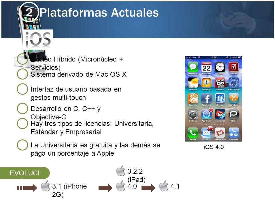 Plataformas Actuales 2 Núcleo Híbrido (Micronúcleo + Servicios)