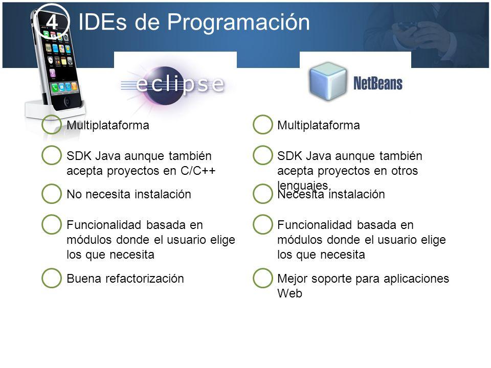 IDEs de Programación 4 Multiplataforma Multiplataforma