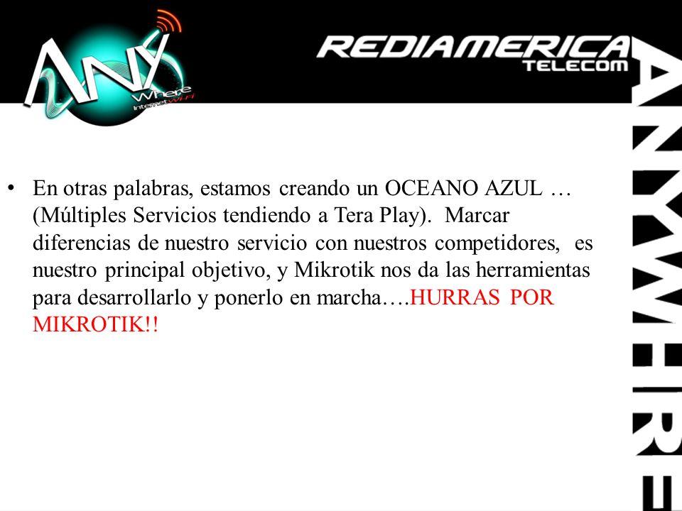 En otras palabras, estamos creando un OCEANO AZUL … (Múltiples Servicios tendiendo a Tera Play).