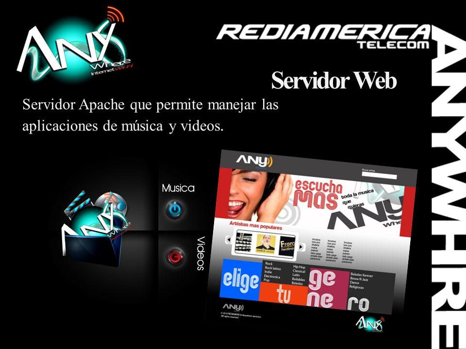 Servidor Web Servidor Apache que permite manejar las aplicaciones de música y videos.