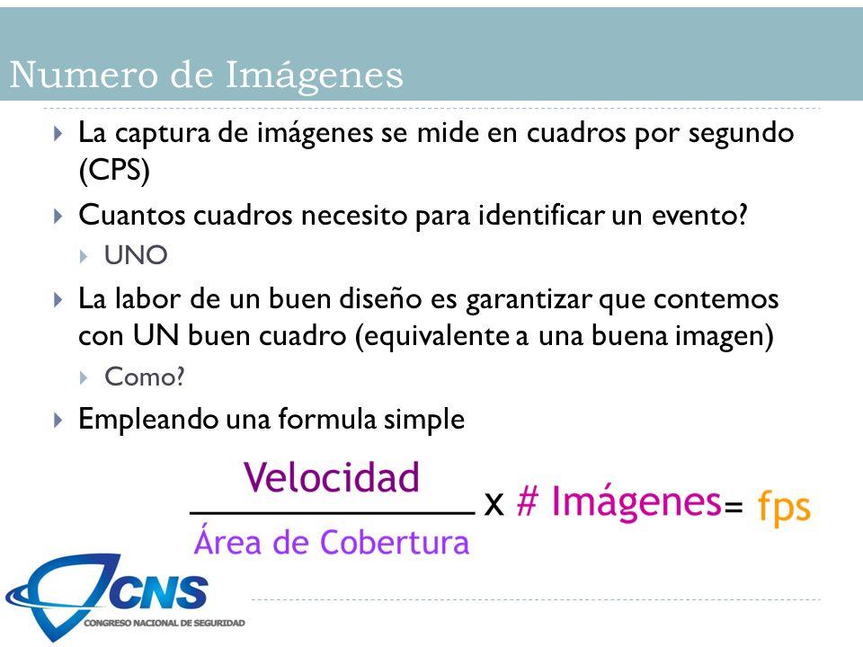 Numero de Imágenes La captura de imágenes se mide en cuadros por segundo (CPS) Cuantos cuadros necesito para identificar un evento