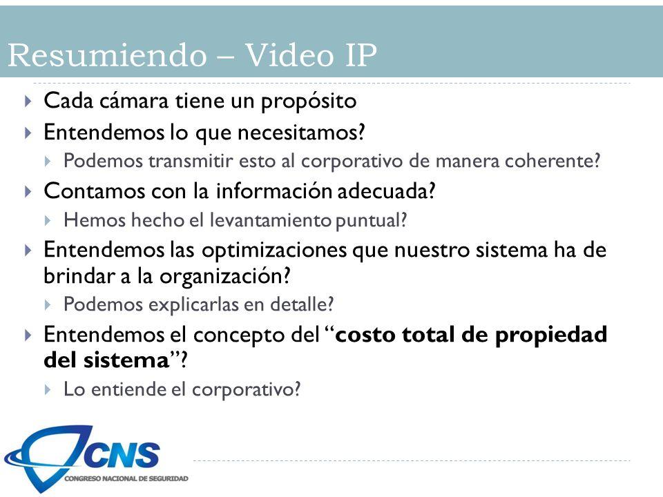 Resumiendo – Video IP Cada cámara tiene un propósito