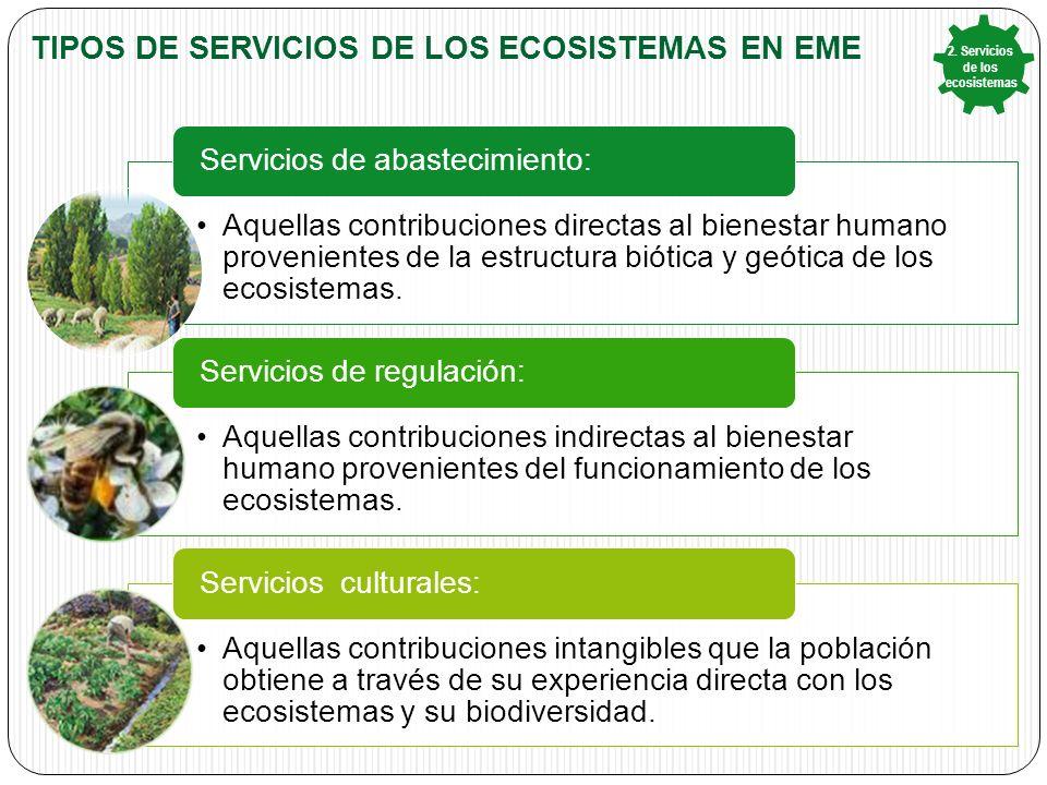 Tipos de Servicios de los ecosistemas en eme