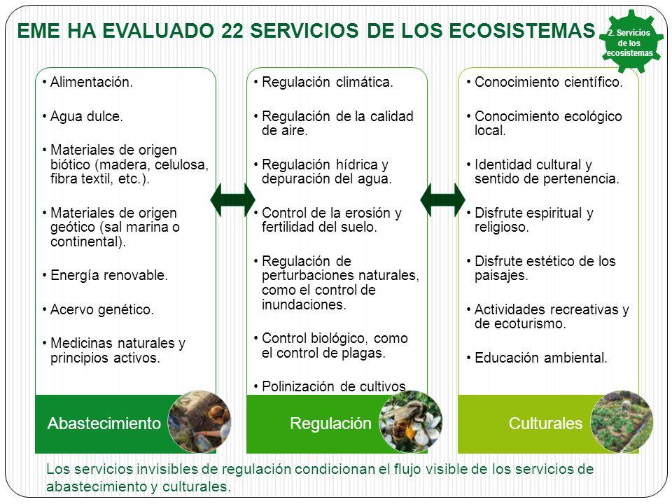 Eme ha evaluado 22 Servicios de los ecosistemas