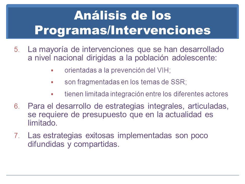 Análisis de los Programas/Intervenciones